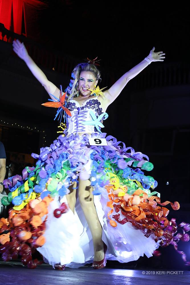 model on stage wearing dress made of plastics