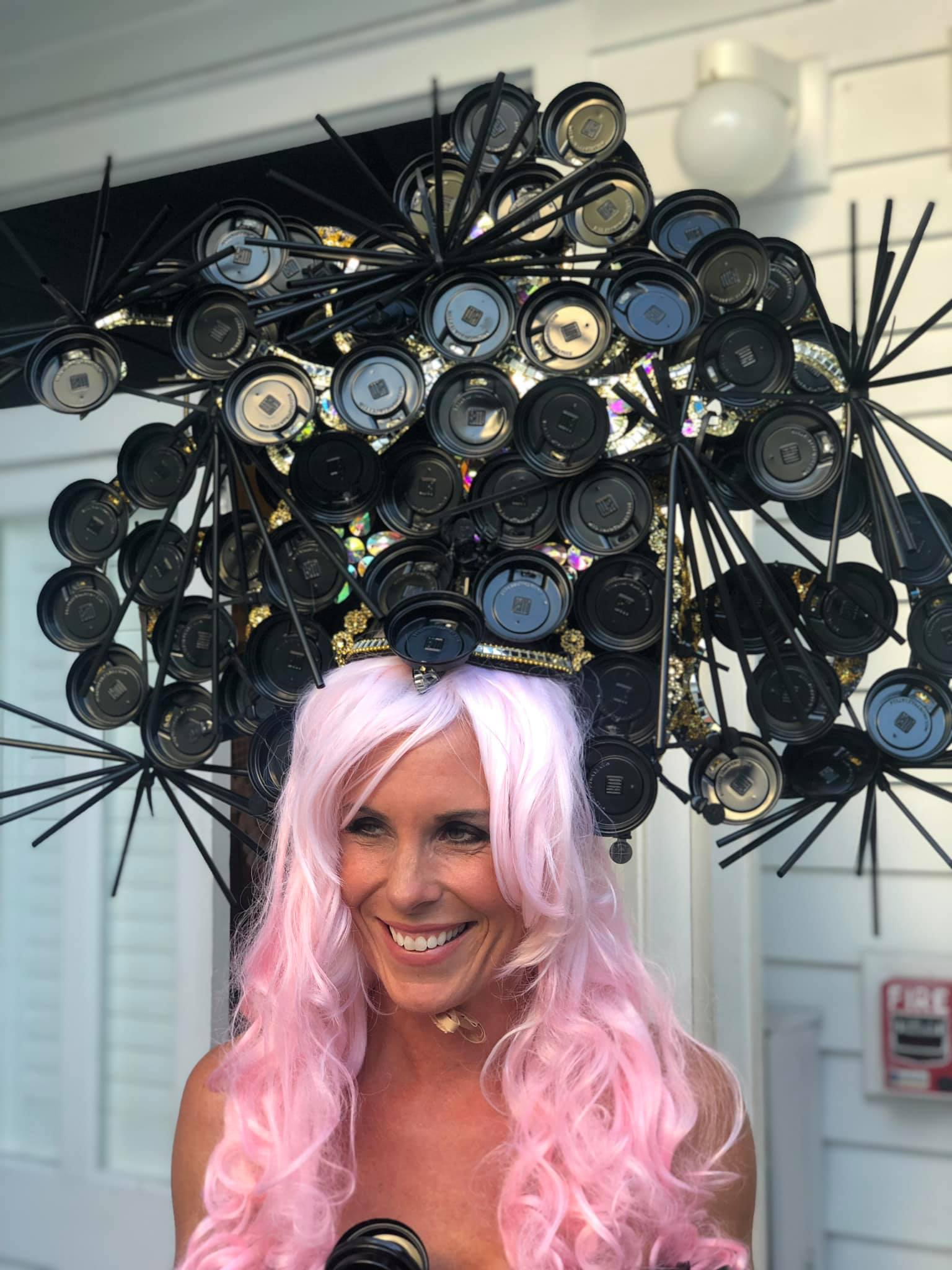 Kristen Winders wearing pink wig & head piece