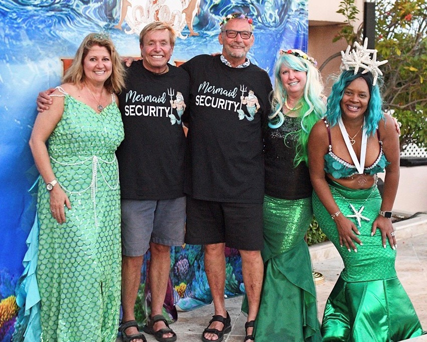 Stacy, ML & Tangela in mermaid costume with Bob & Frank wearing mermaid security t-shirts