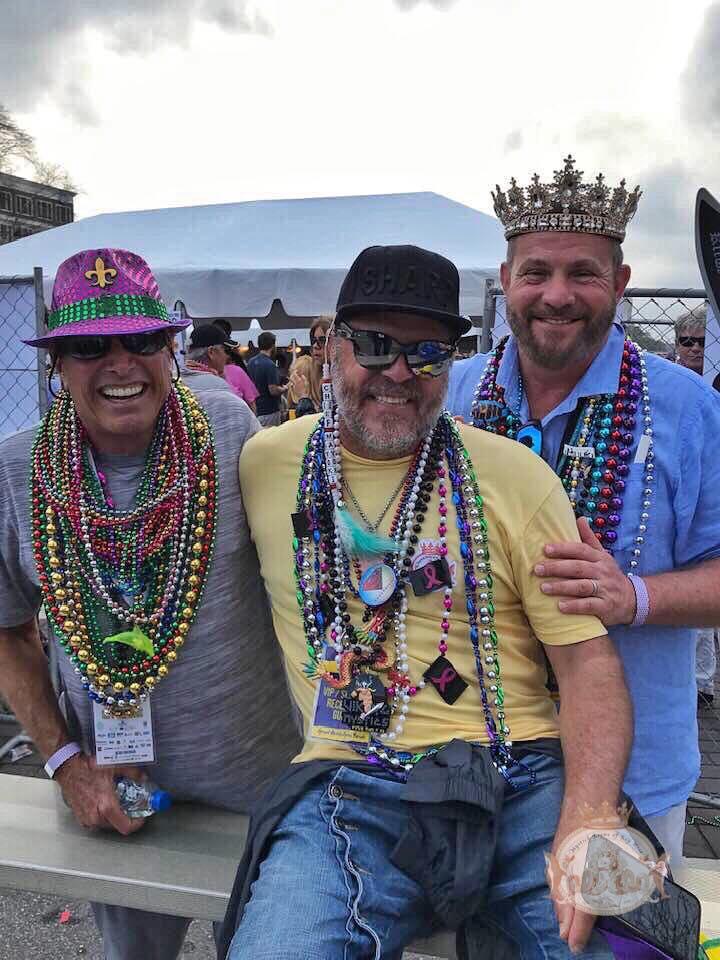 Bob Pabian, Juan Pisani & Chase Hurse watching Mardi Gras parade