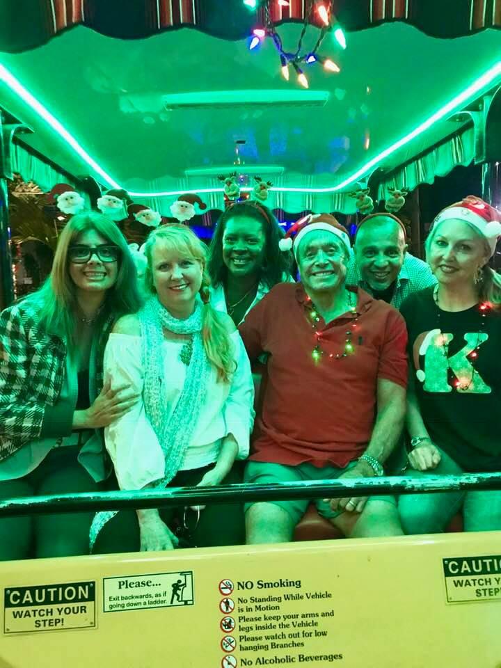 members on Christmas trolley ride