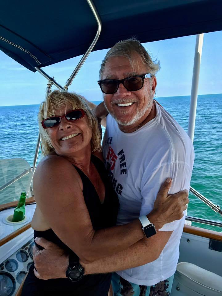 Diane Eliopoulos and Val Marmillion on boat