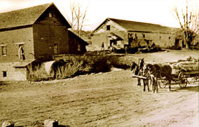 Grist Mill - The Grist Mill and Corrals, made of adobe and flagstone,became part of a major shipping center for the livestock and agricultural produce grown by the Romeros and their neighbors.It was here that tack could be repaired and livestock shod while one's wheat was being ground for flour.