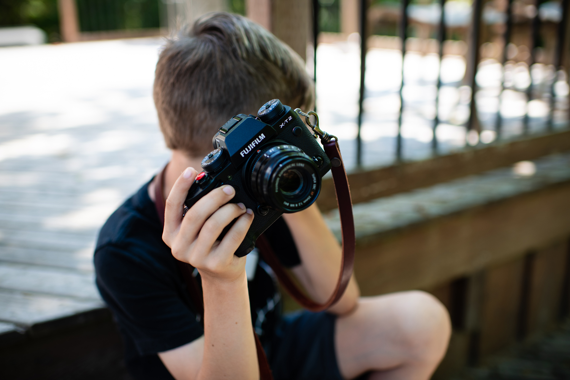 """Ben likes to use our """"small"""" camera. The Fuji is my daily camera. It comes with me all the time."""