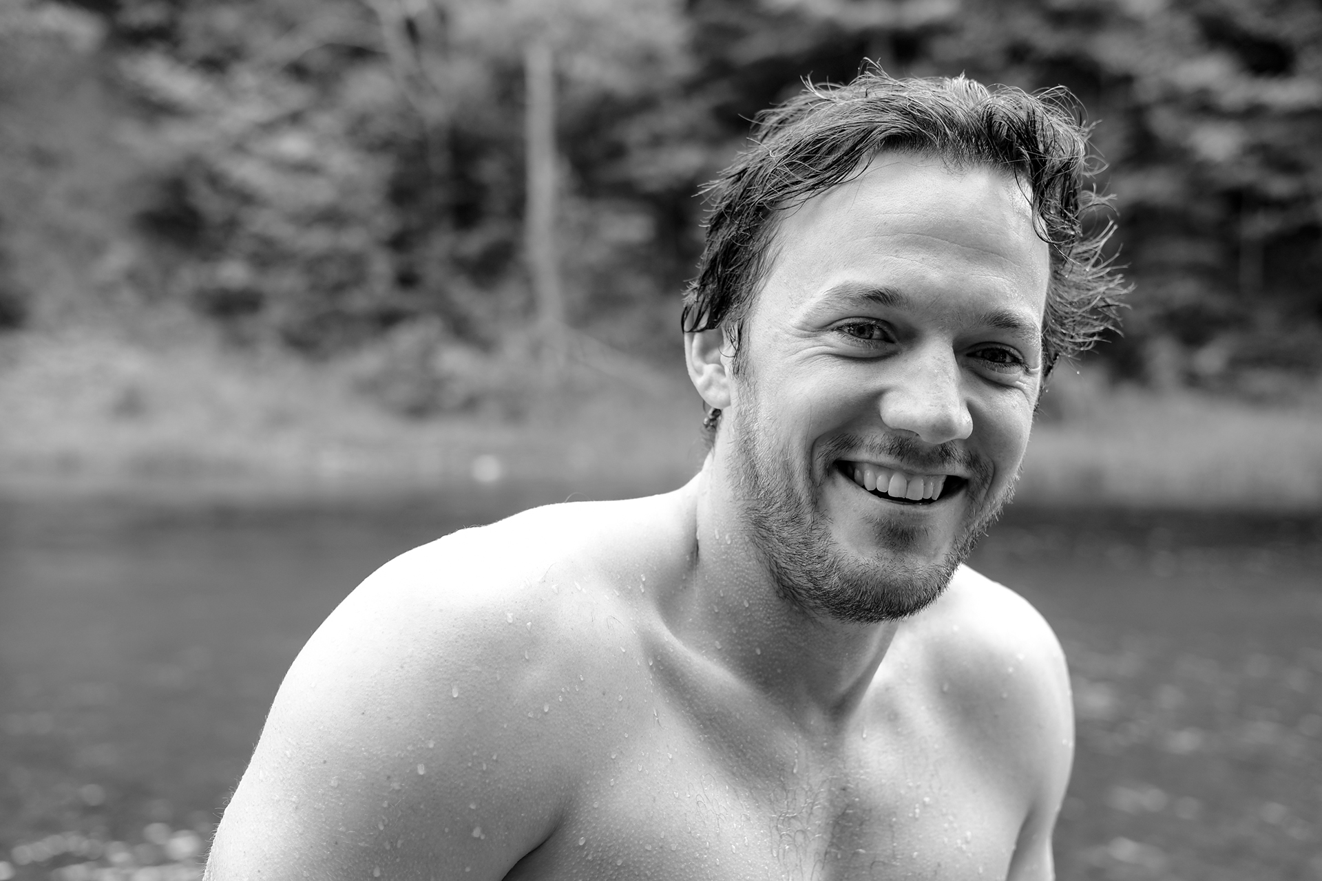 Liam all smiles after going for a quick dip to help one of this tubers into the shore.