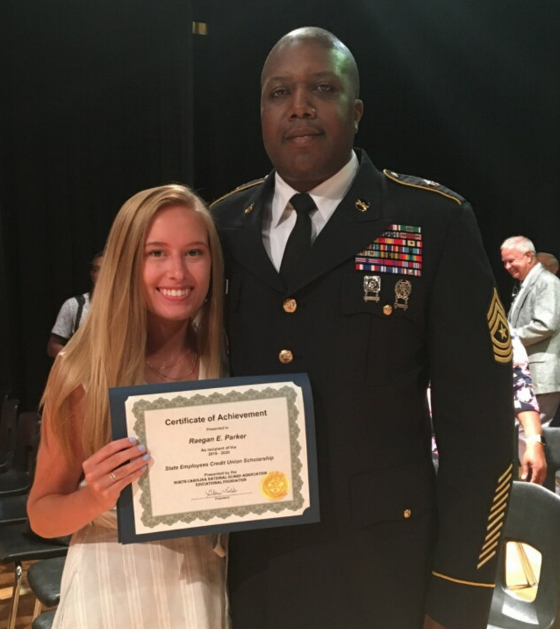 Raegan Parker received the SECU Scholarship from SGM James McKee. Raegan will be attending East Carolina University pursuing a degree in Psychology with a minor in Criminal Justice. Raegan is the daughter Tammy Parker and the granddaughter of MSG (RET) Bobby Ray Rouse.