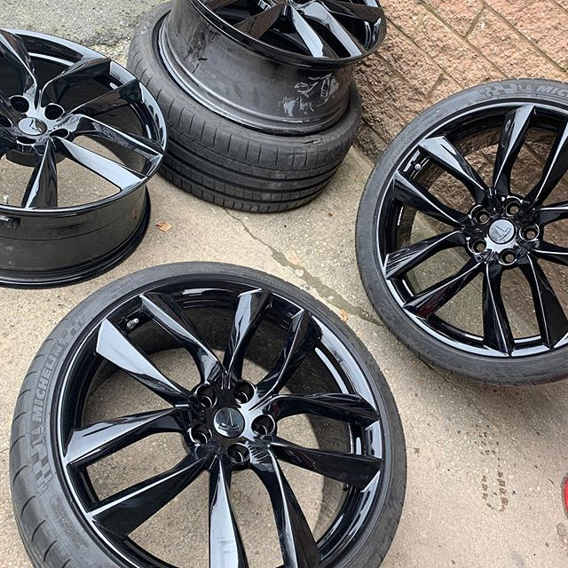 Tesla wheels from alloy to gloss black 🔥🔥🔥🔥🔥🔥
