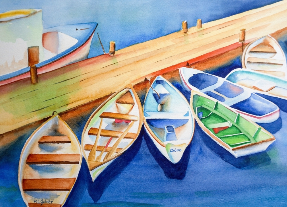 """Boats  Framed watercolor 16 x 20"""", $300  Prints available"""