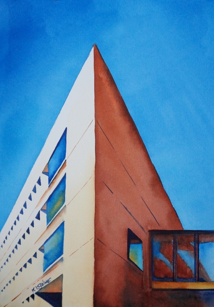"""MIT Building 66  Framed watercolor 20 x 16"""", $300"""