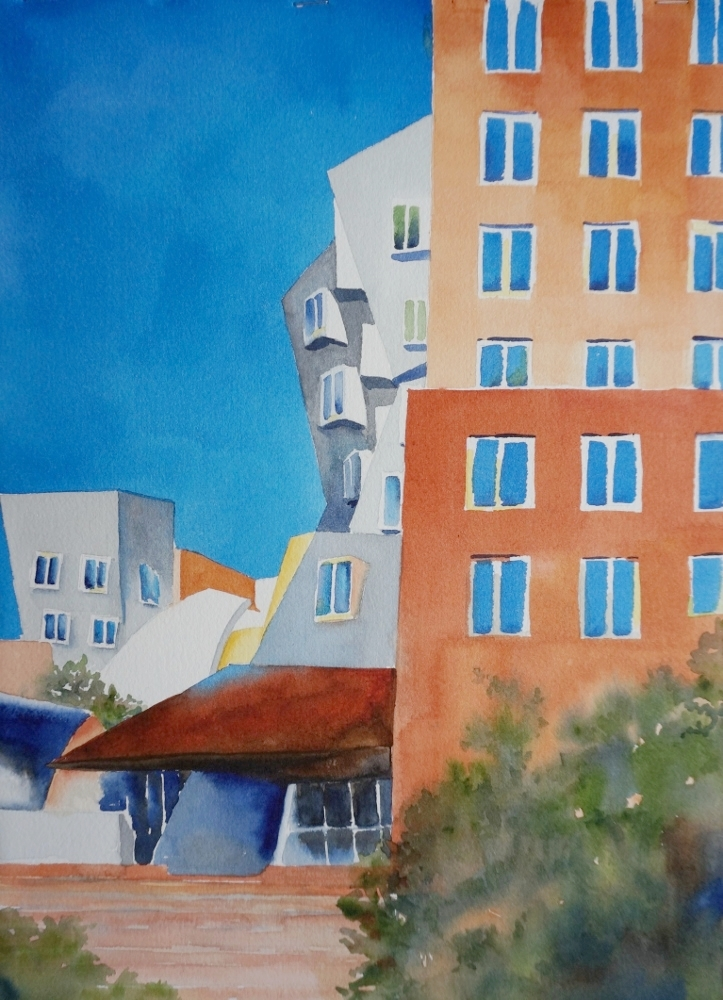 """MIT Stata Center  Framed watercolor 20 x 16"""", $300"""