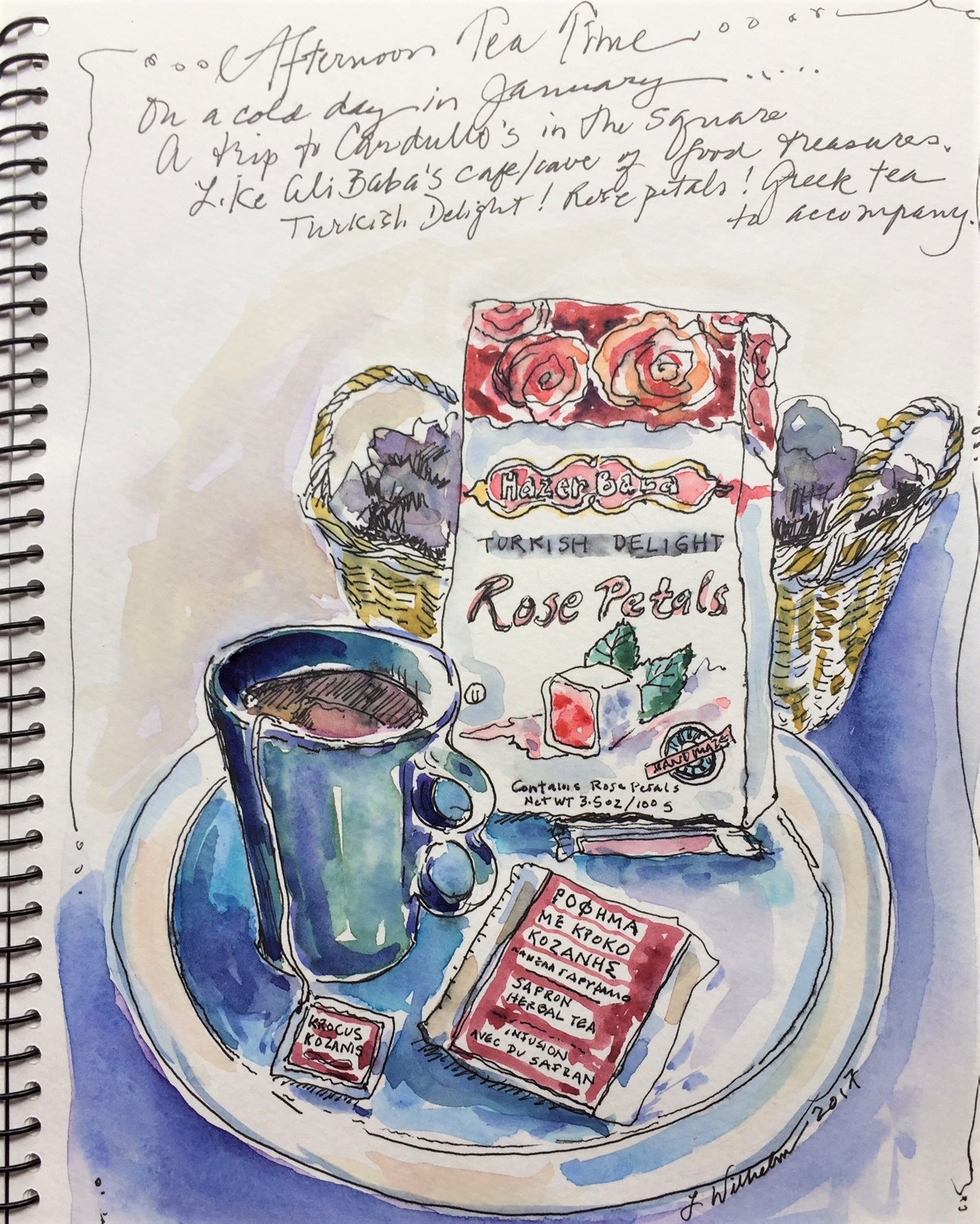 Tea Time  Watercolor sketch  Prints available