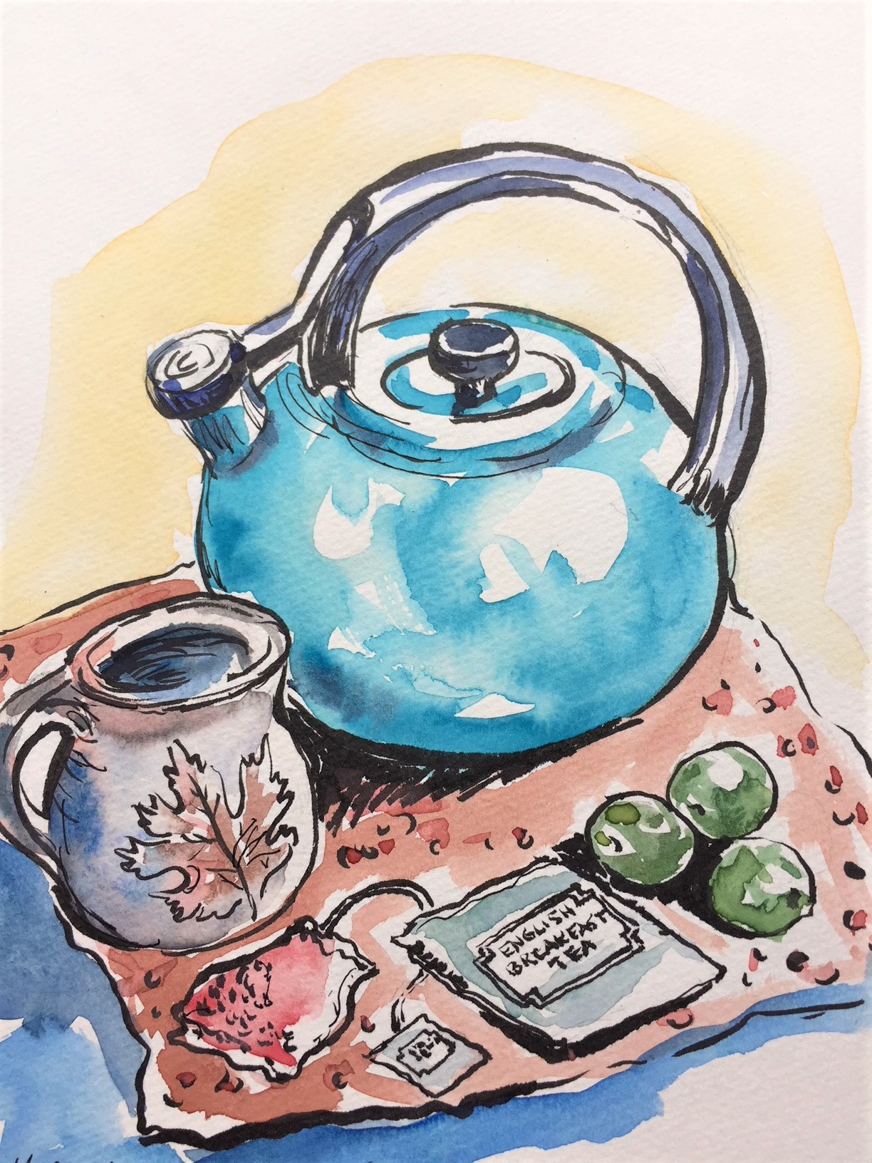 Teapot  Watercolor sketch  Prints available