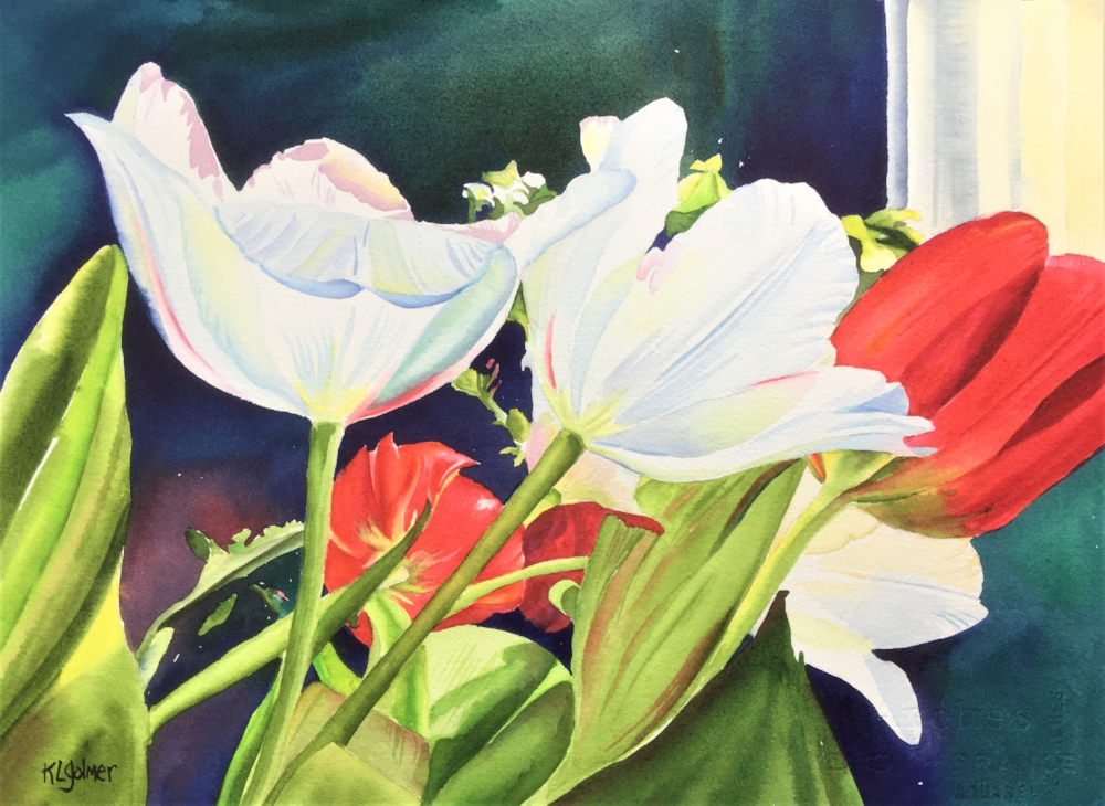 """Tulips  Framed watercolor 16 x 20"""", $400  Prints available"""