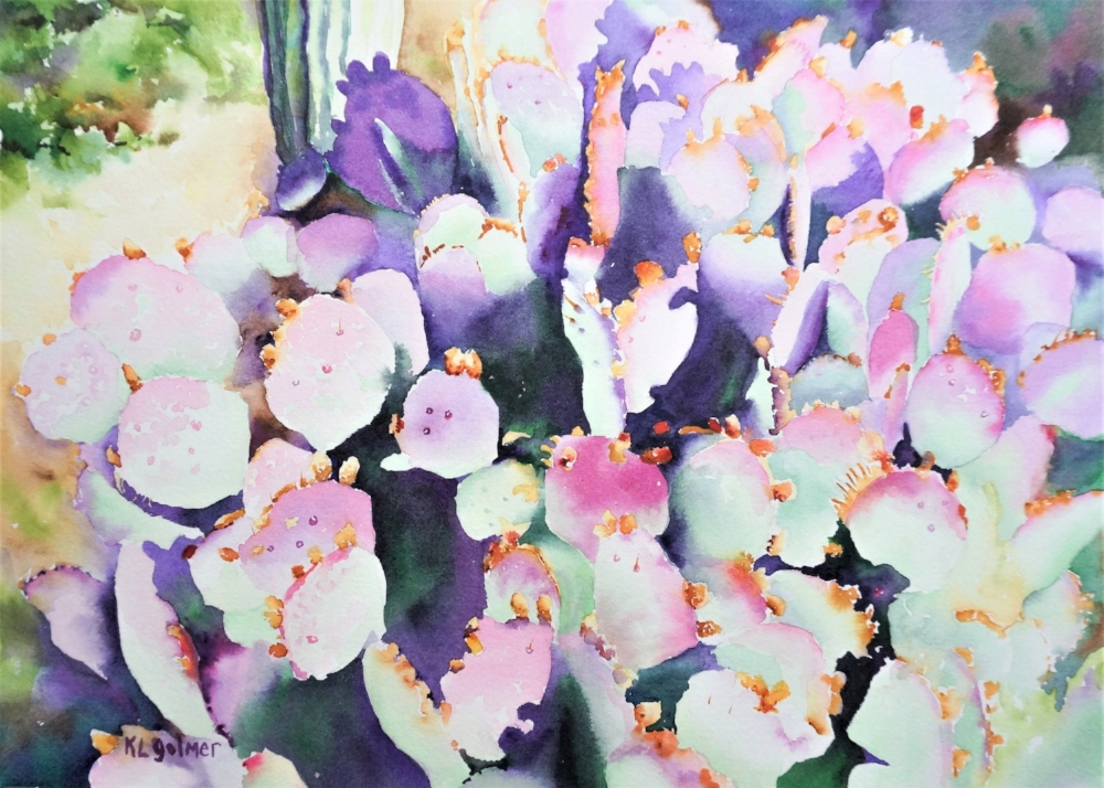 """Dance of the Prickly Pear  Framed watercolor 16 x 20"""", $400  Prints available"""