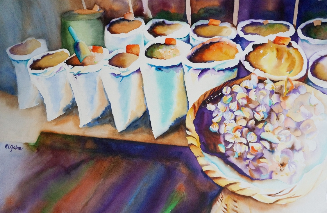 """Garlic and Grains  Framed watercolor 20 x 27"""", $800  Prints available"""