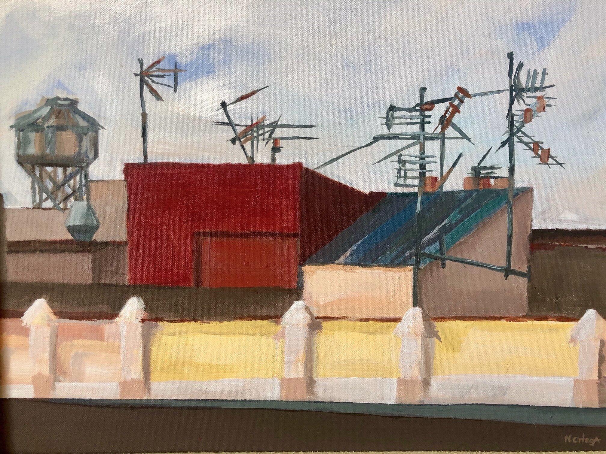 "Barceloneta Rooftops AM  Acrylic,    16 x 20"""