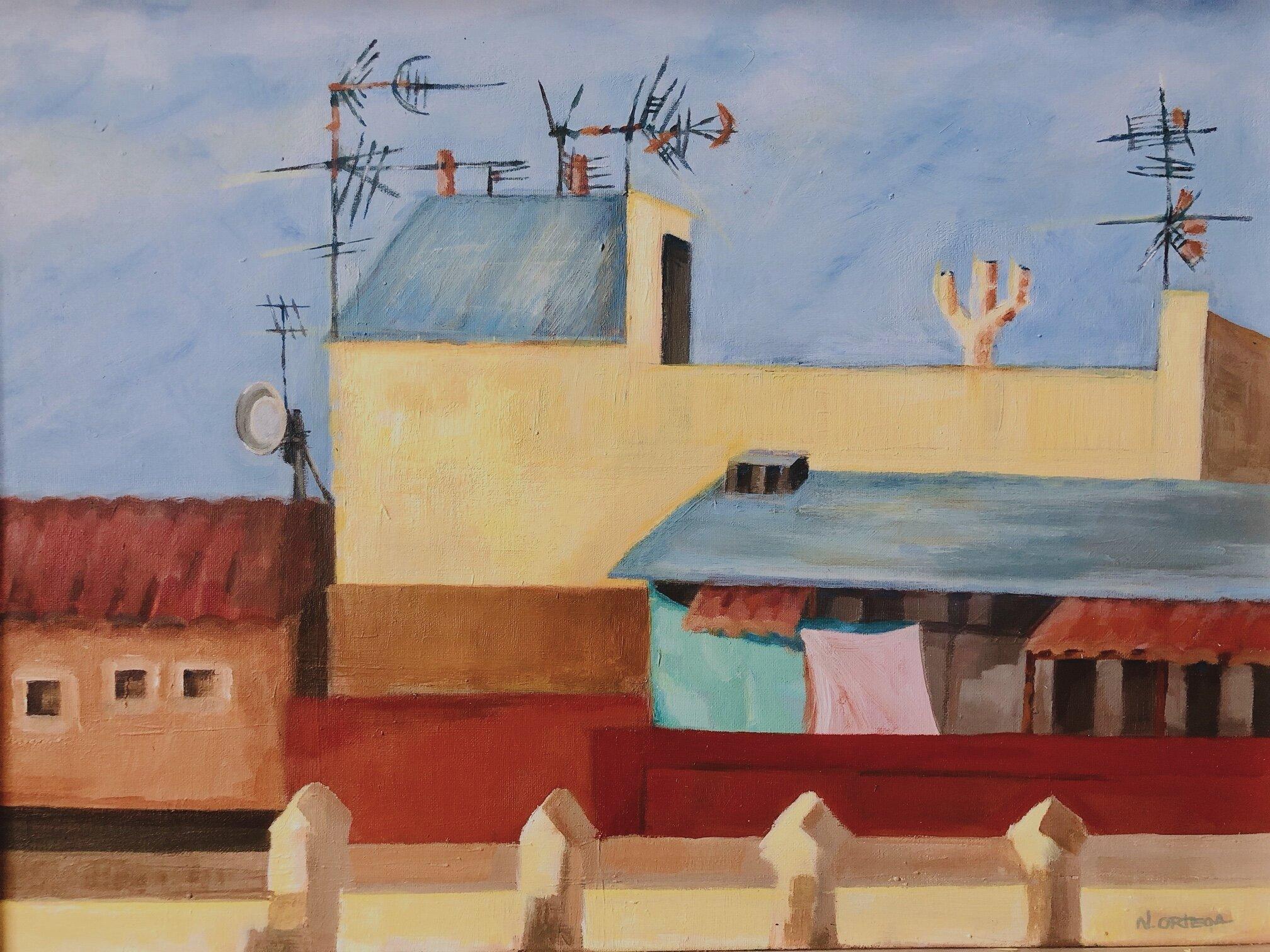 "Barceloneta Rooftops PM  Acrylic,    18 x 24"""