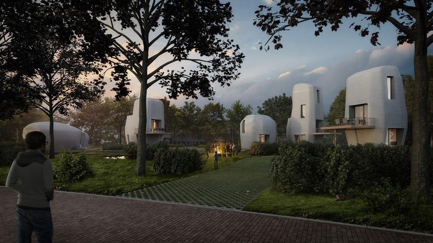 3D printed houses.. surrounded by 3D printed grass and trees... -
