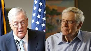 Tweedledee and Tweedledumb - the Koch brothers. Sinister and still pulling the strings. -