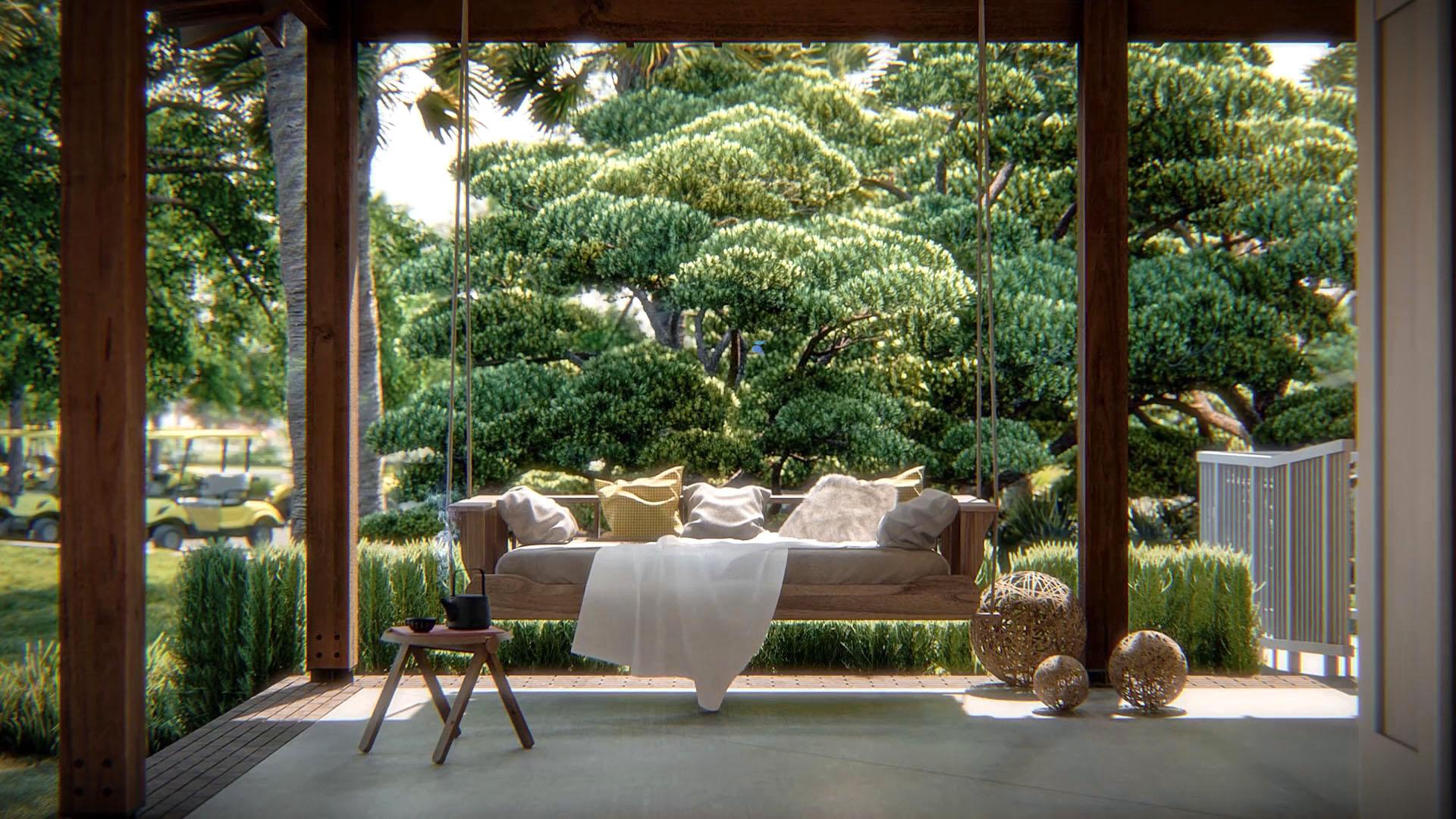 Porch swing at Carolina Pines, by TEN OVER MEDIA.