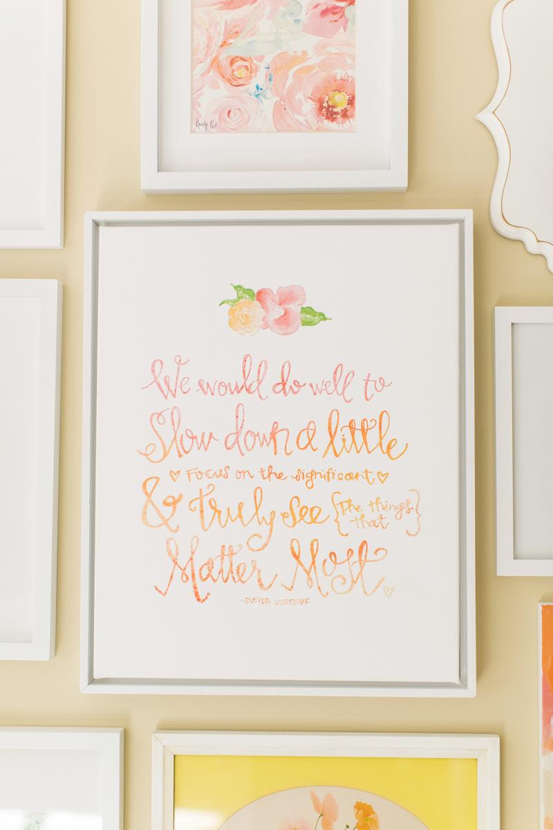 Watercolor lettering art print