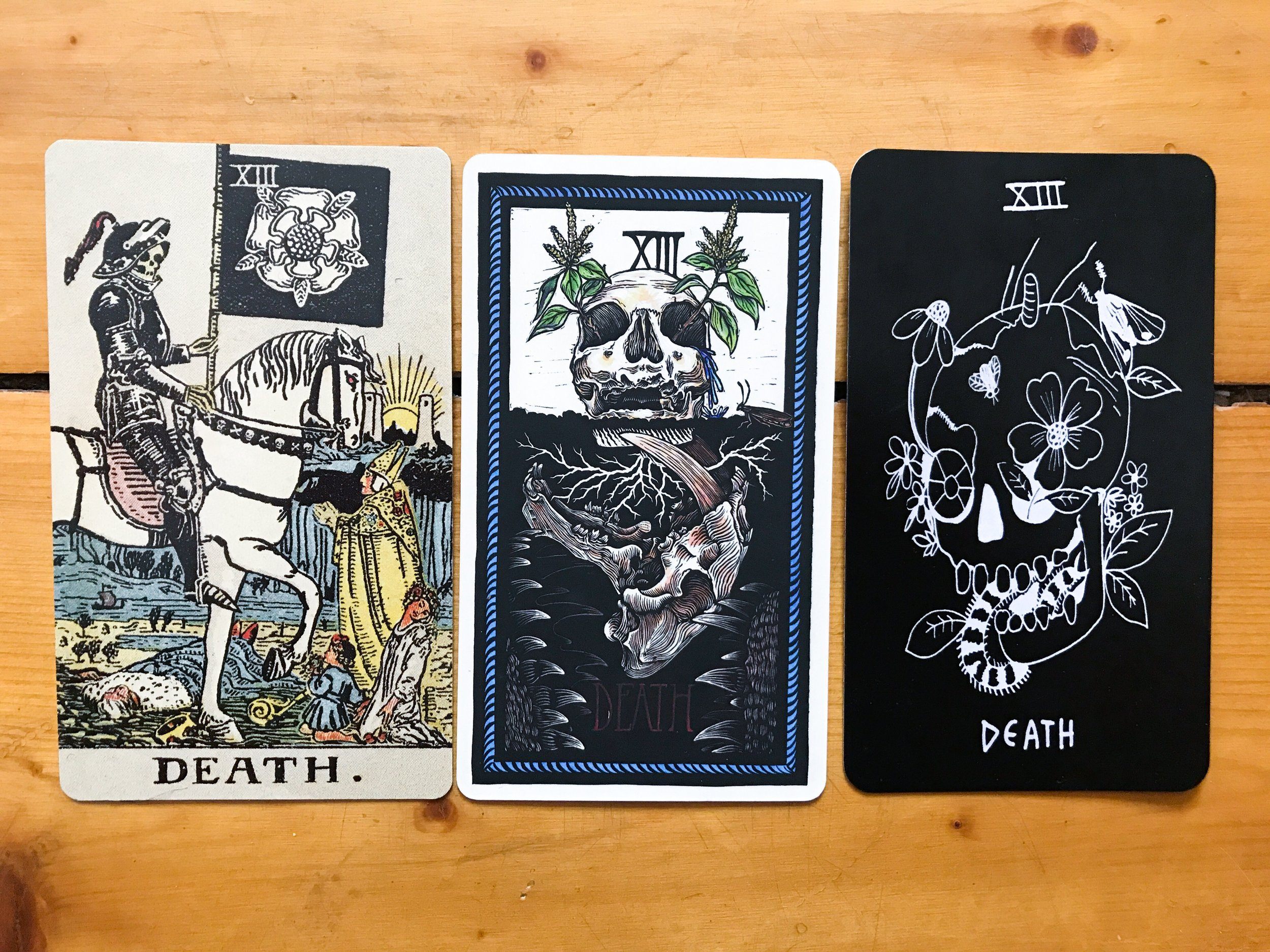 Left to right: Centennial Waite-Smith, The Brady Tarot, Persephone Tarot 1st edition