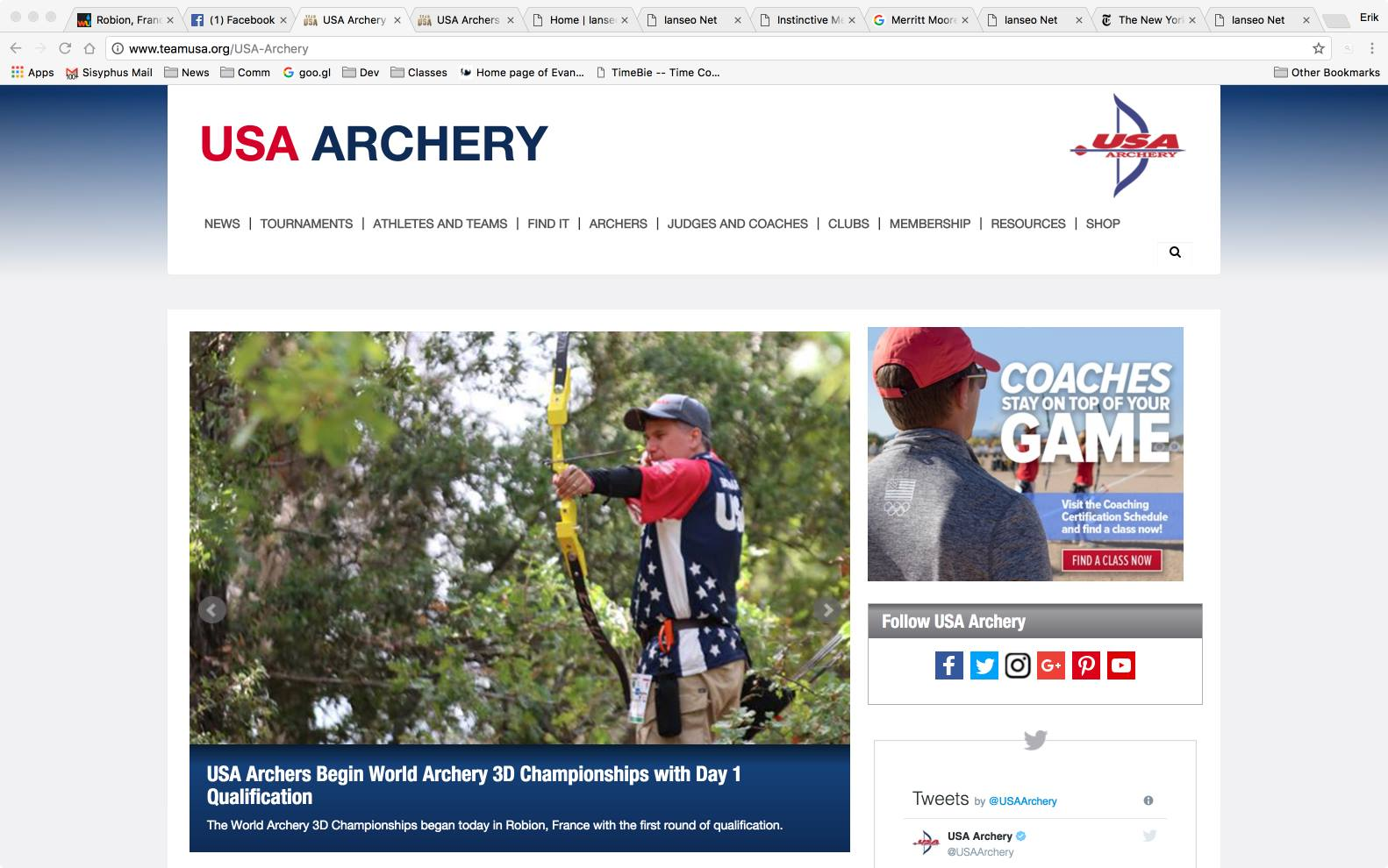 I made the front page of the USA Archery site