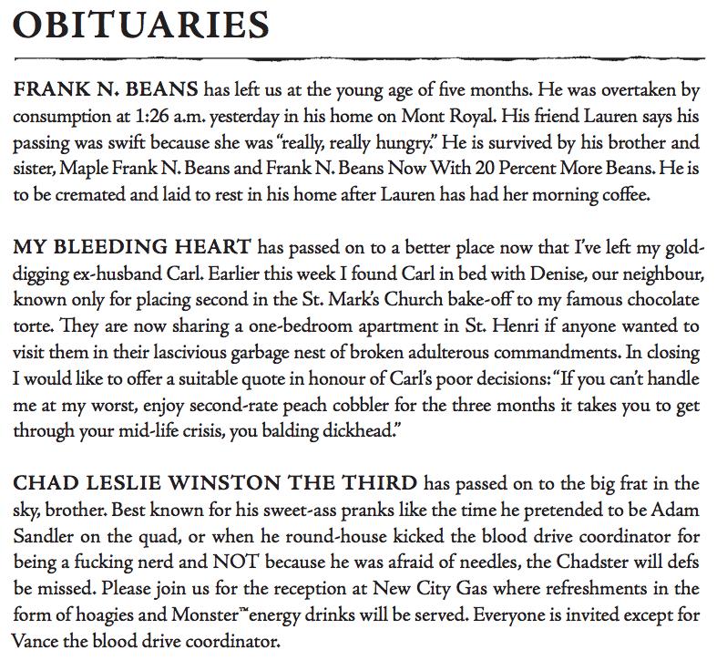 Some obituaries I put together.