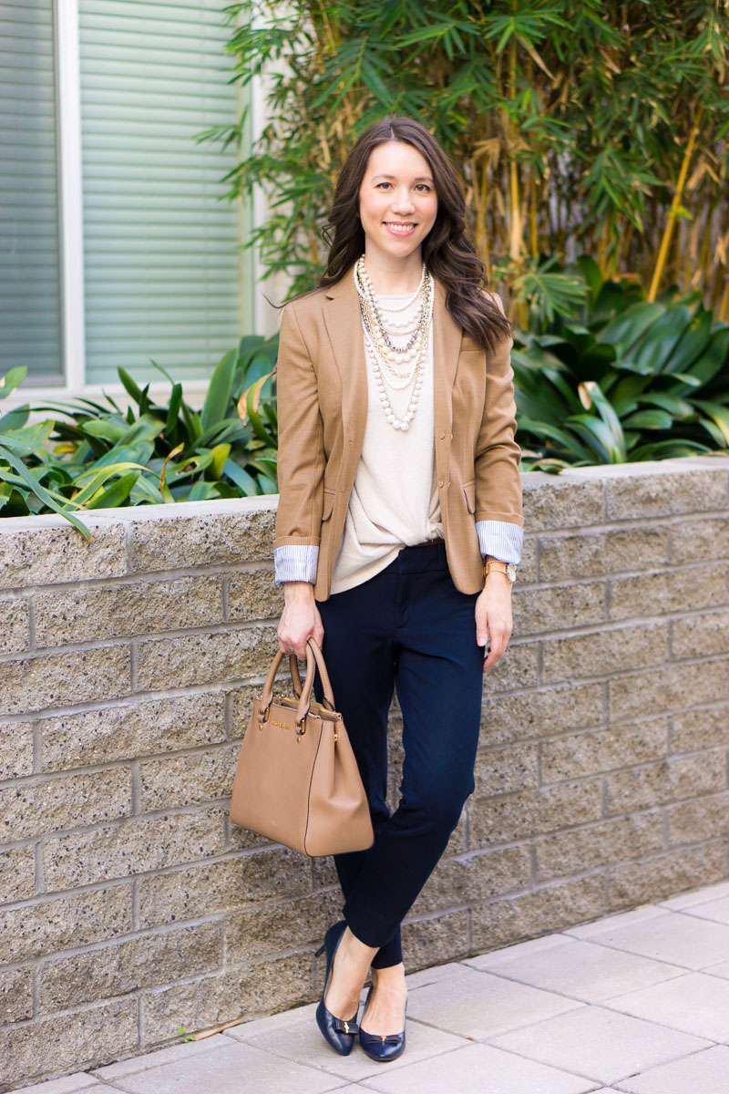 Petite-Style-Script-Gibson-Twist-Front-cozy-top-J-Crew-Factory-Schoolboy-camel-blazer-ann-taylor-pearlized-statement-necklace-work-outfit-inspiration-petite-fashion-2.jpg