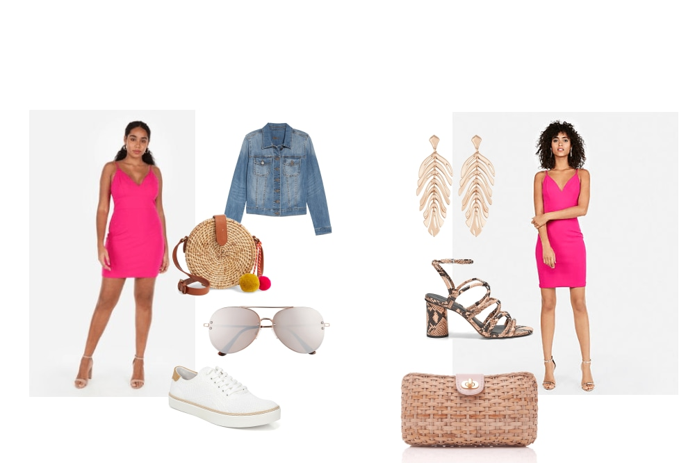 One pink dress, two ways to wear.