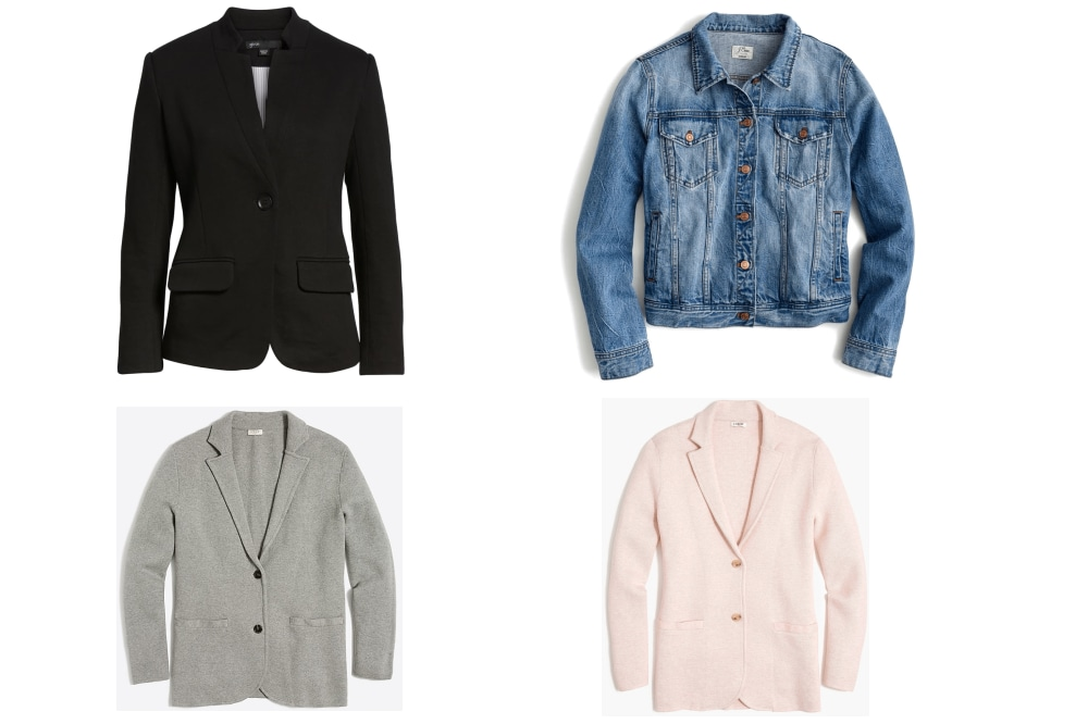 Make sure your layering game is strong. Depending on the formality of your office (or your outfit on a particular day), be sure you have various options in your closet from casual to formal. Denim jackets are great for more relaxed office environments. They're great for Summer dresses or a sleeveless blouse and trousers combo. Blazers are essential for adding polish to your looks. The sweater blazer above is stretchy and movable, the black option is dressier.