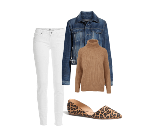 White jeans in Fall - bring those Sumemr white skinnies into Fall wtih a camel sweater, denim jacket, and printed flats.