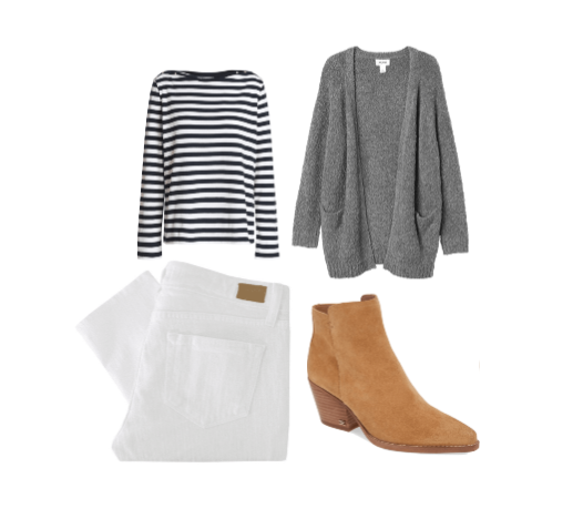 Layers and texture - wear your white boyfriend jeans with stripes, suede booties, and a chunky cardigan.
