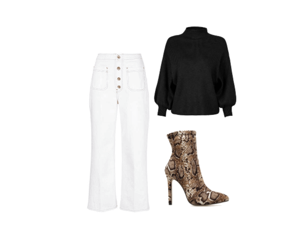 City Chic - Snake print is very of-the-moment on these booties and the chic black sweater features cool sleeves.