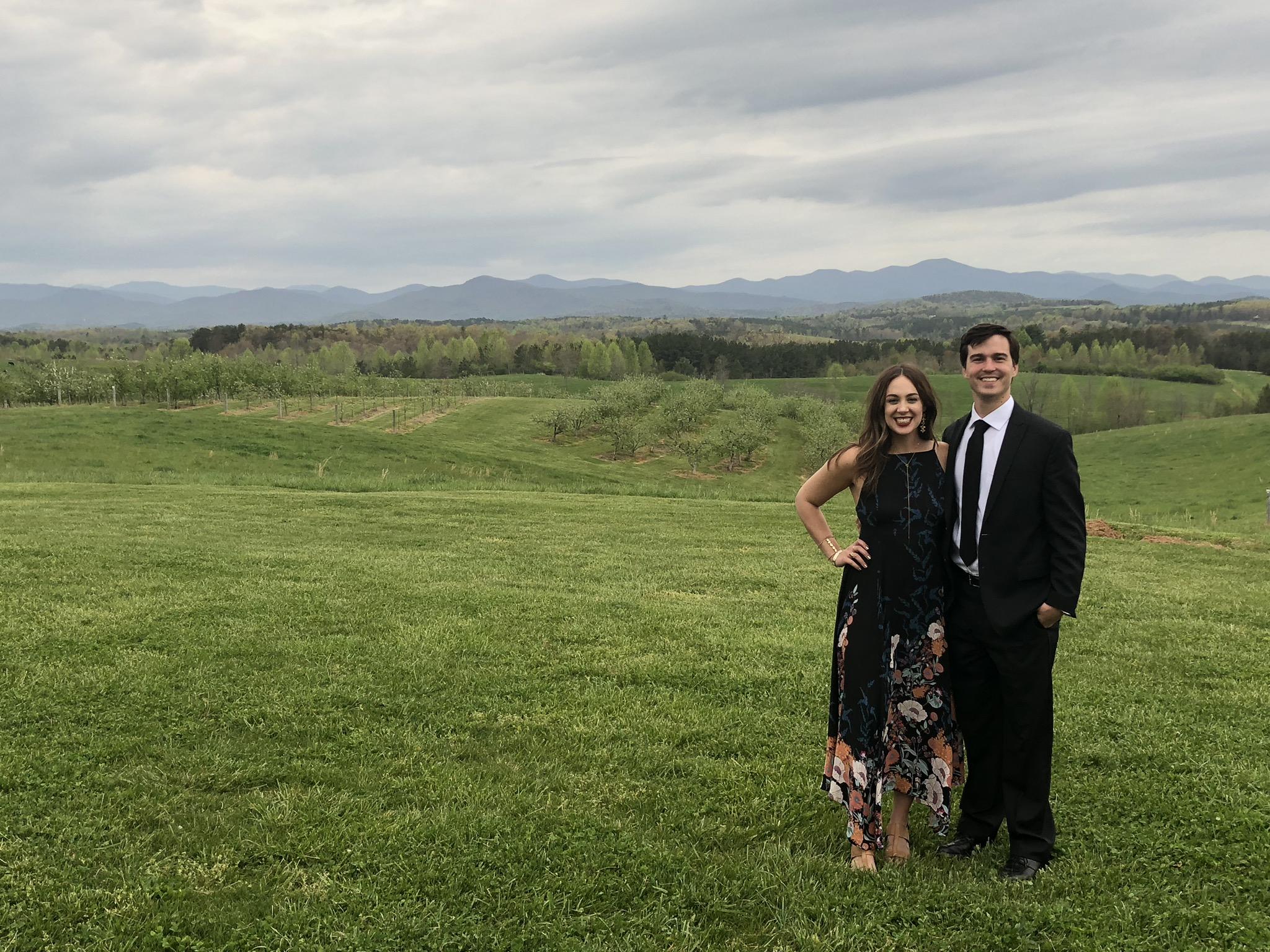 Us at Sara and Rob's wedding. Isn't it a beautiful view??