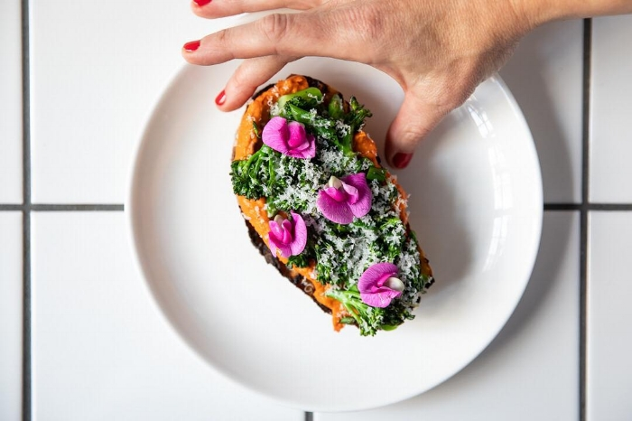 This summer, Pammy's started offering an aperitivo hour, opening at 4:30PM for anyone sneaking out of work early on a sunny day or looking for a quick bite and refreshing drink before heading out into the evening. Included on the menu is a Romesco and Sprouted Broccoli Bruschetta, pictured above.   Photograph courtesy of Pammy's