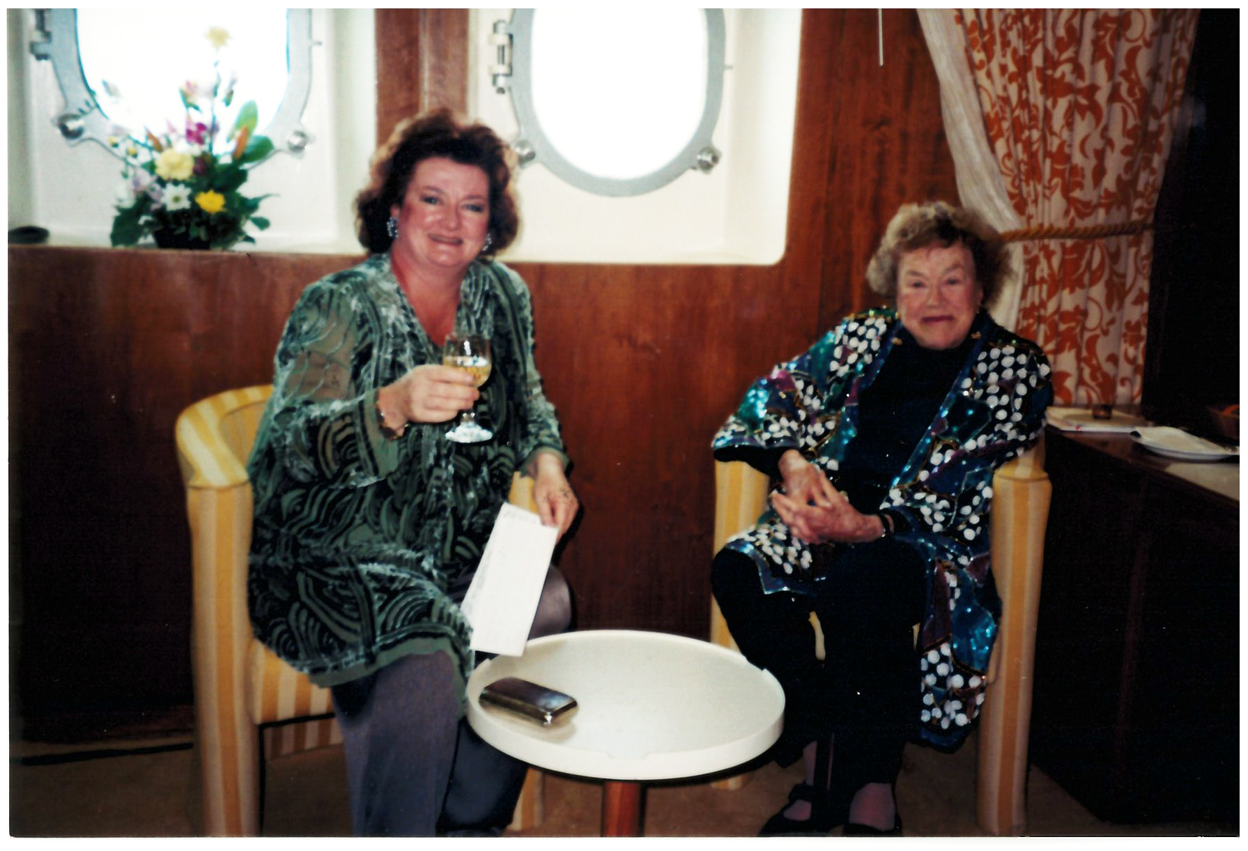 Lydia and Julia aboard the QE2