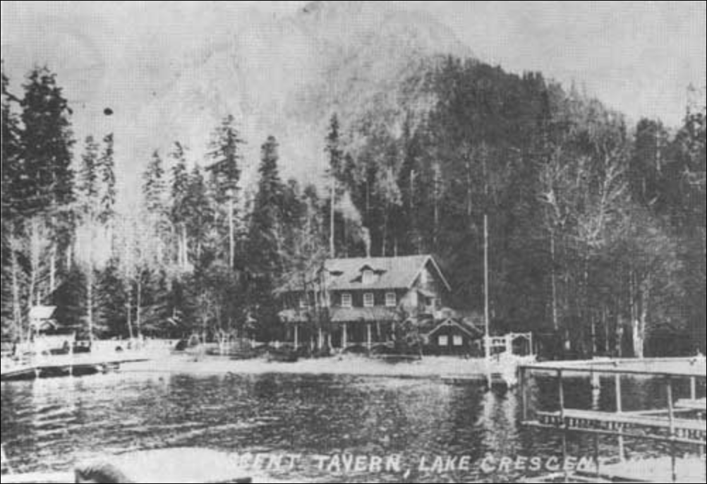 Singer's Lake Crescent Tavern    from Lake Crescent around 1918. Doesn't look a whole lot different than today!
