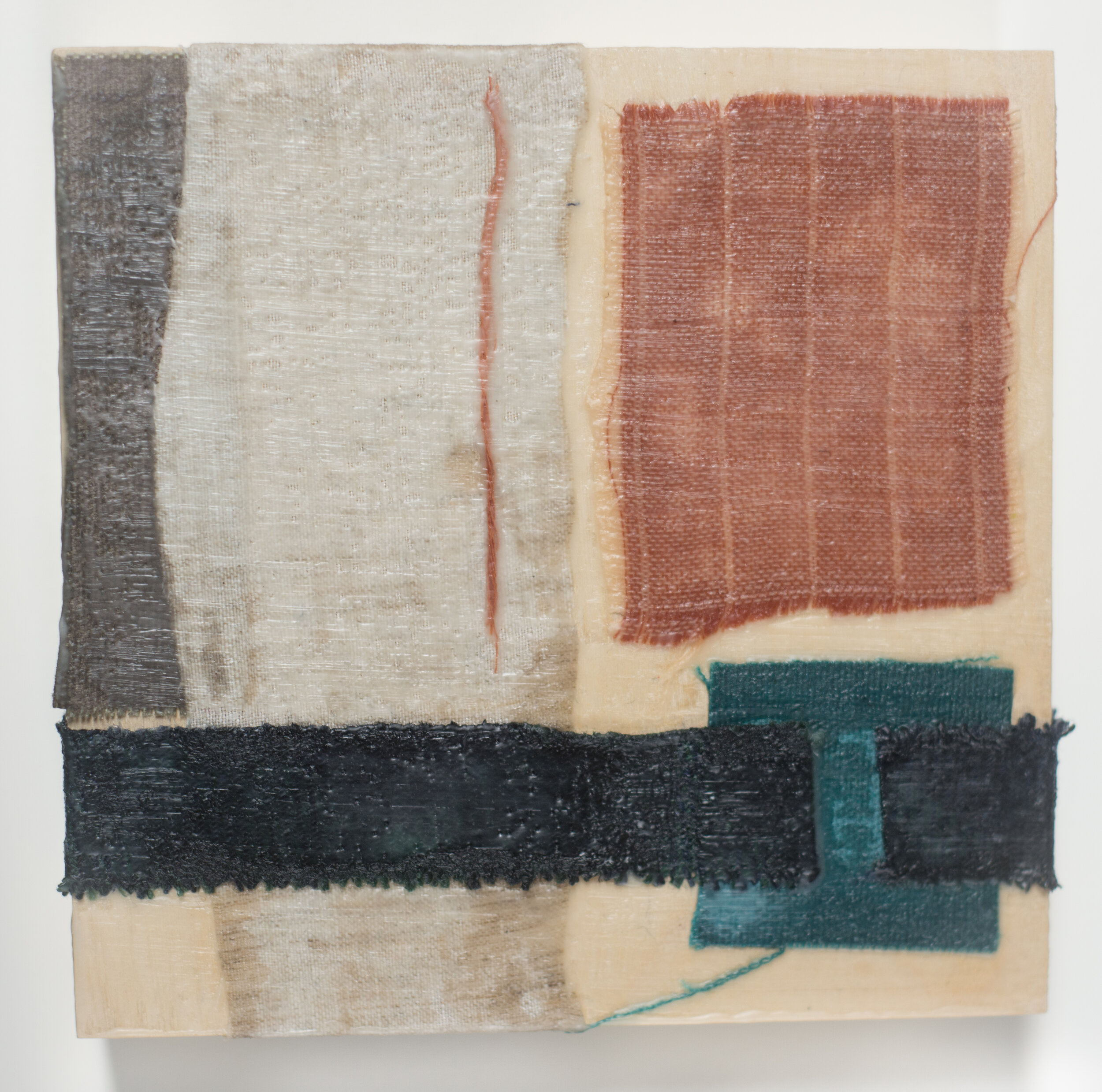 """Remnant #7  6""""x6"""", Encaustic & Fabric mounted on Birch Cradled Panel, 2019"""