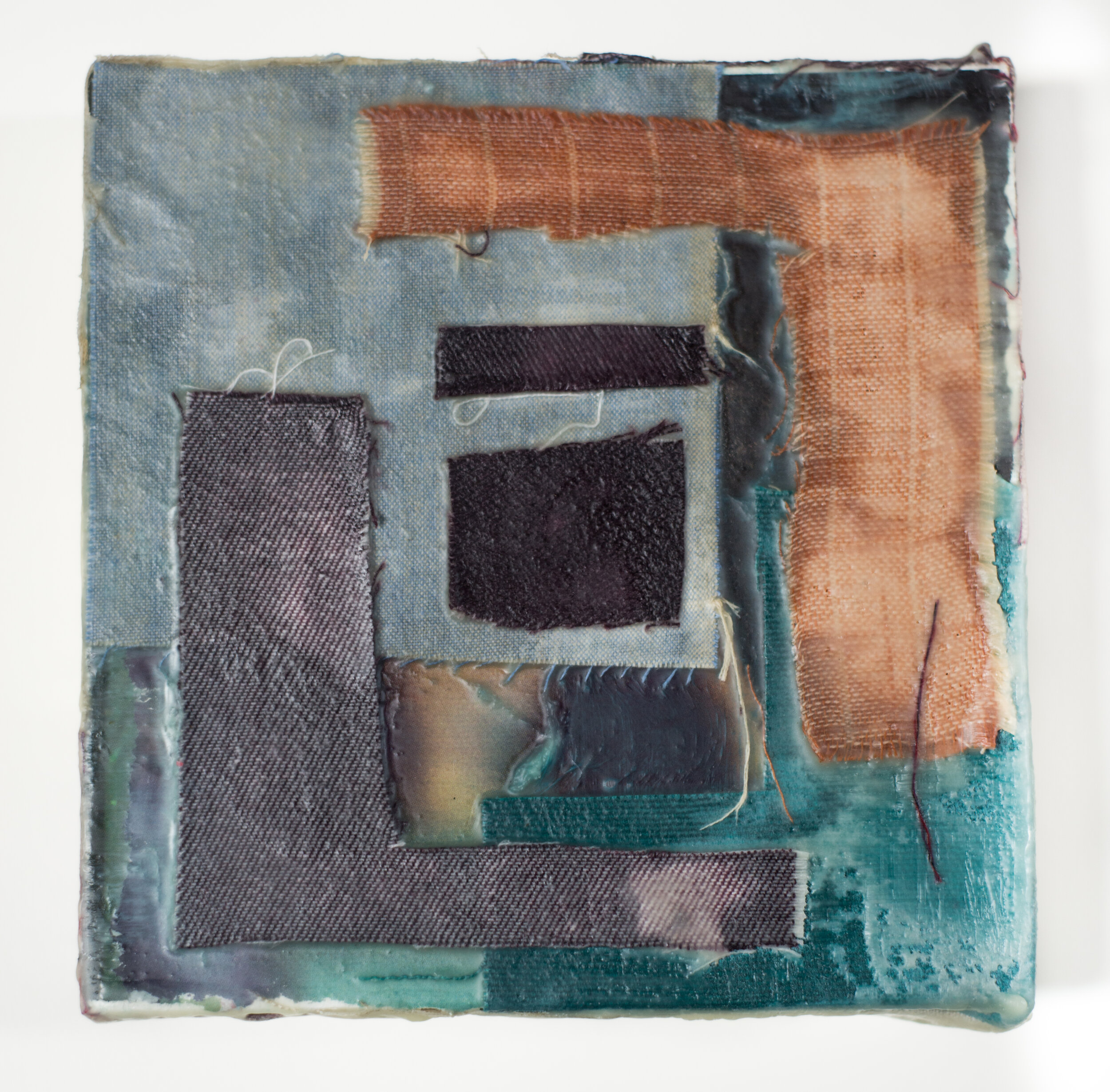 """Remnant #8  6""""x6"""", Encaustic & Fabric mounted on Birch Cradled Panel, 2019"""