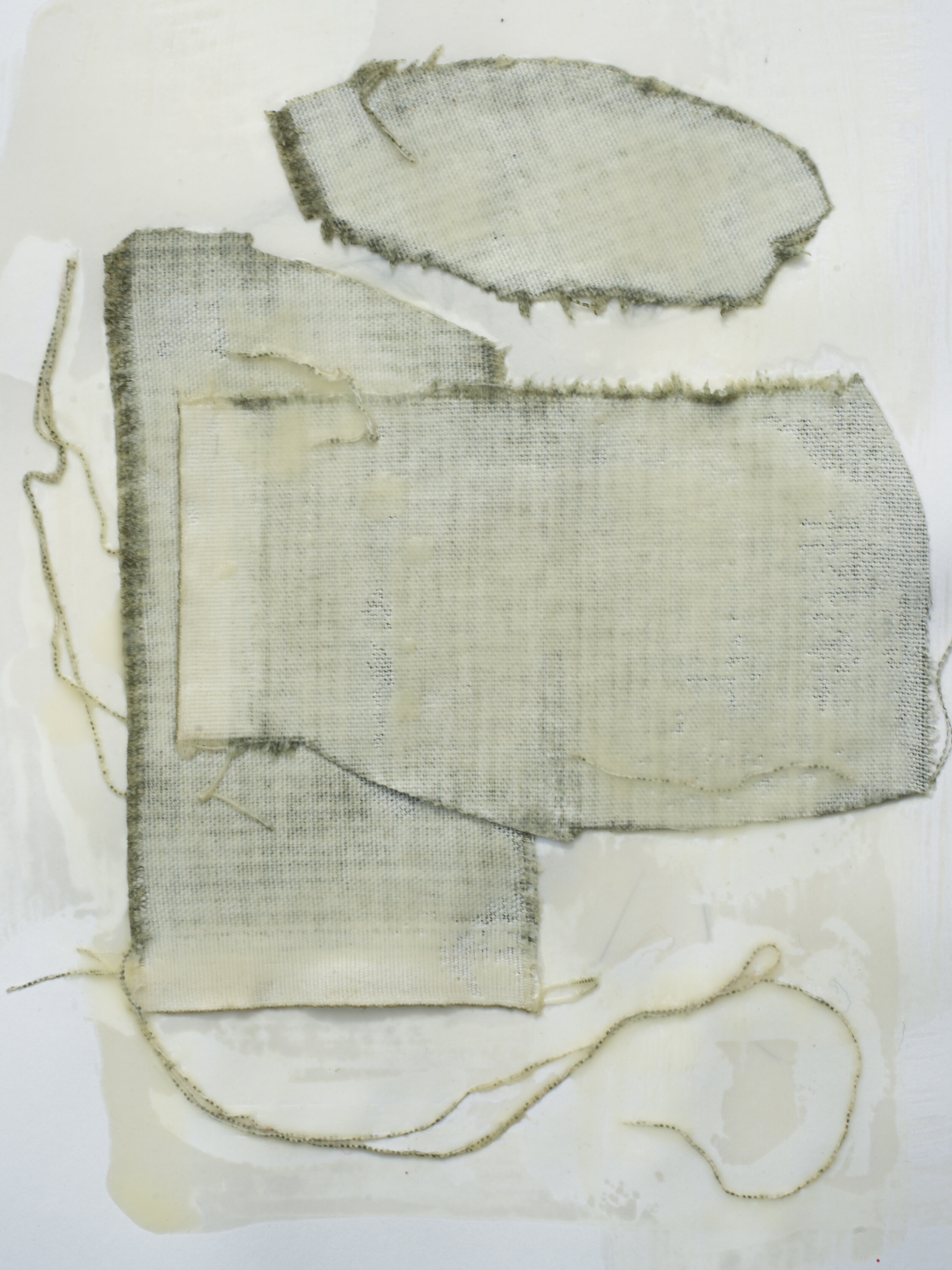 "Remnant Study #1  9""x12"" Encaustic & Fabric on Paper, 2019"