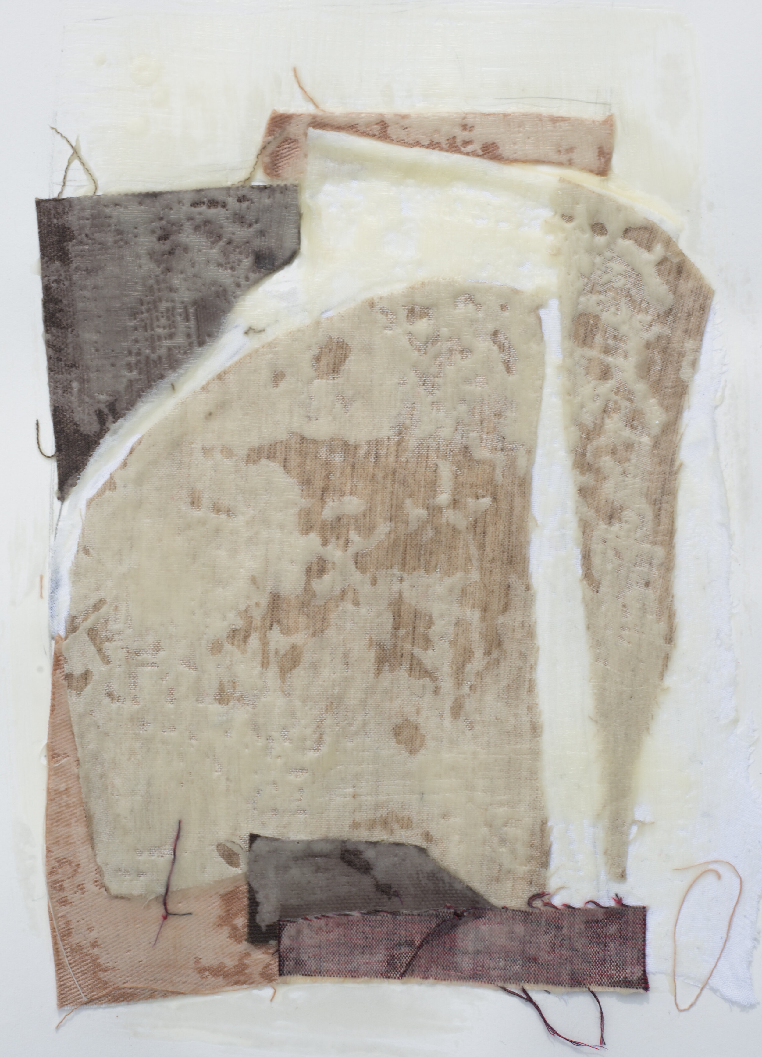 "Remnant Study #2  9""x12"" Encaustic & Fabric on Paper, 2019"