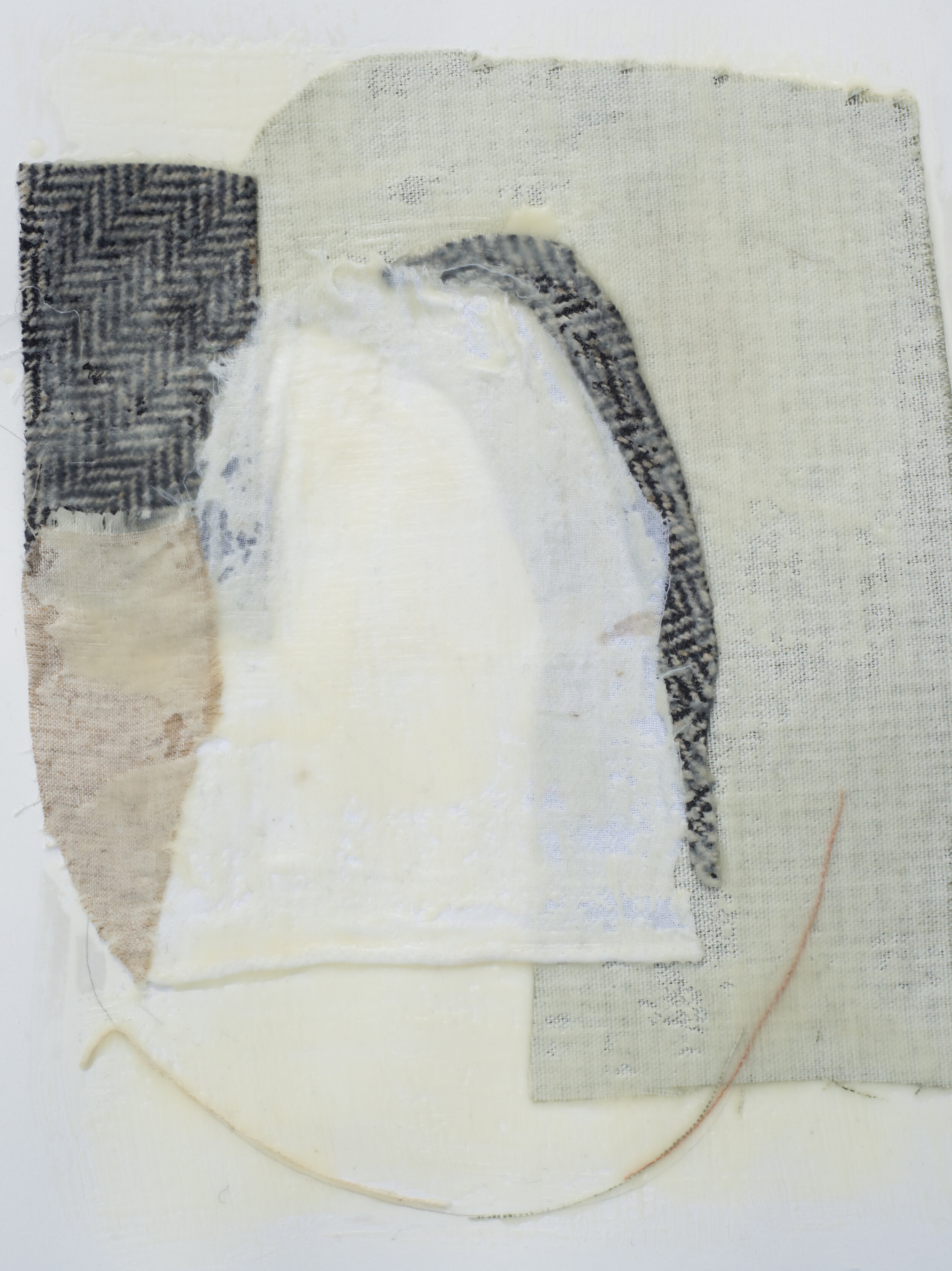 "Remnant Study #3  9""x12"" Encaustic & Fabric on Paper, 2019"