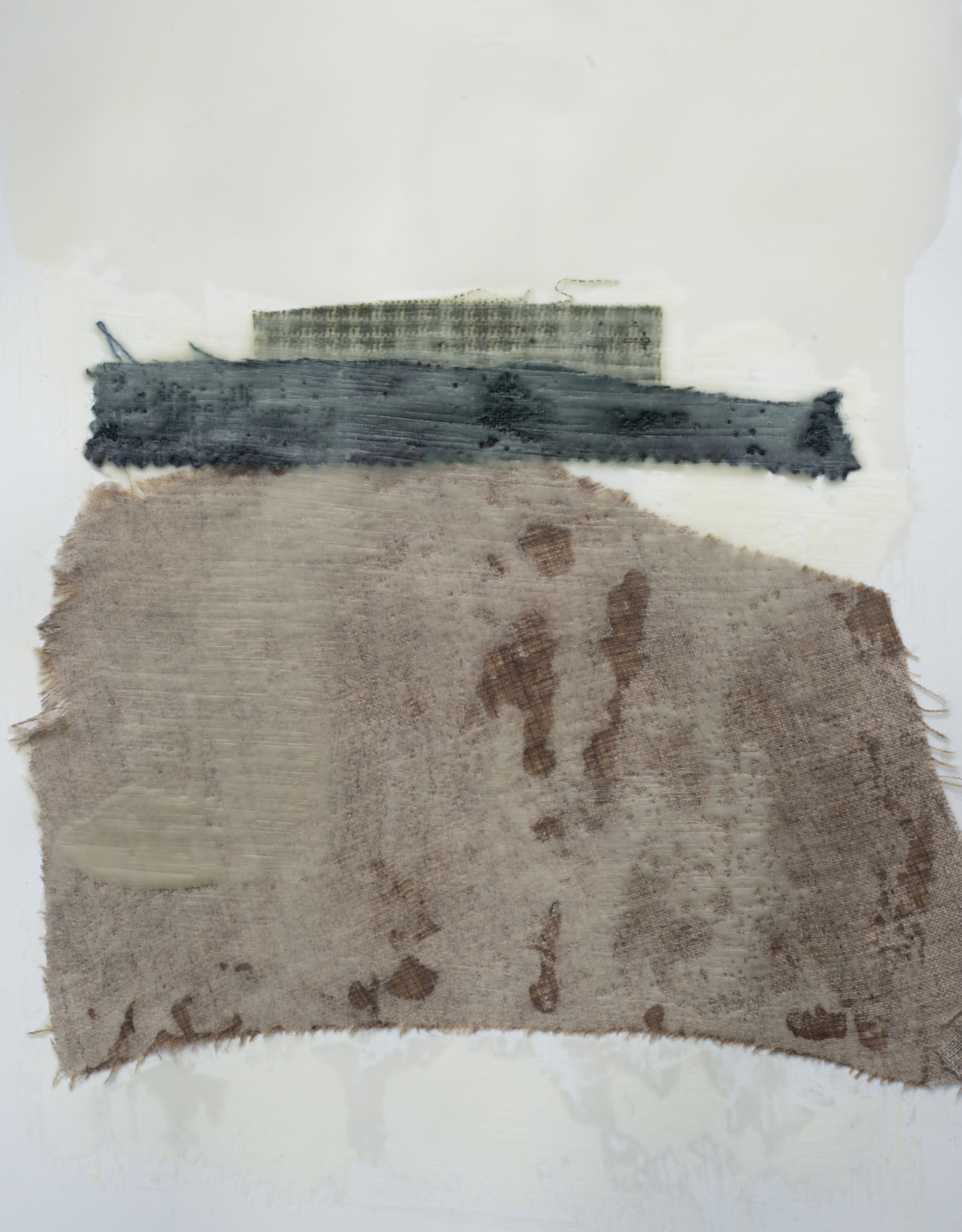 "Remnant Study #5  9""x12"" Encaustic & Fabric on Paper, 2019"