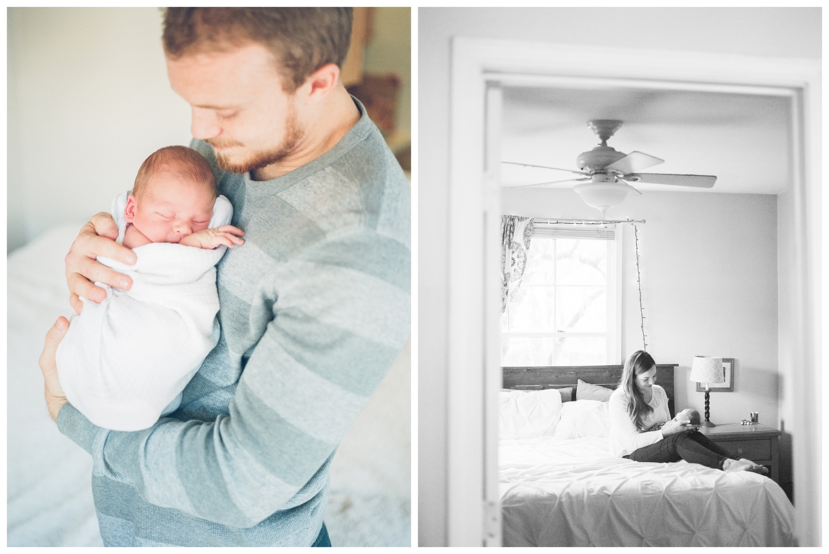 dad holding his son while having newborn photos taken in Chico California