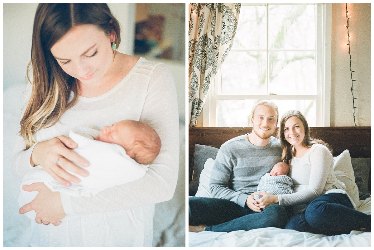 Chico California lifestyle fine art film newborn photographer takes photos of new parents in their home