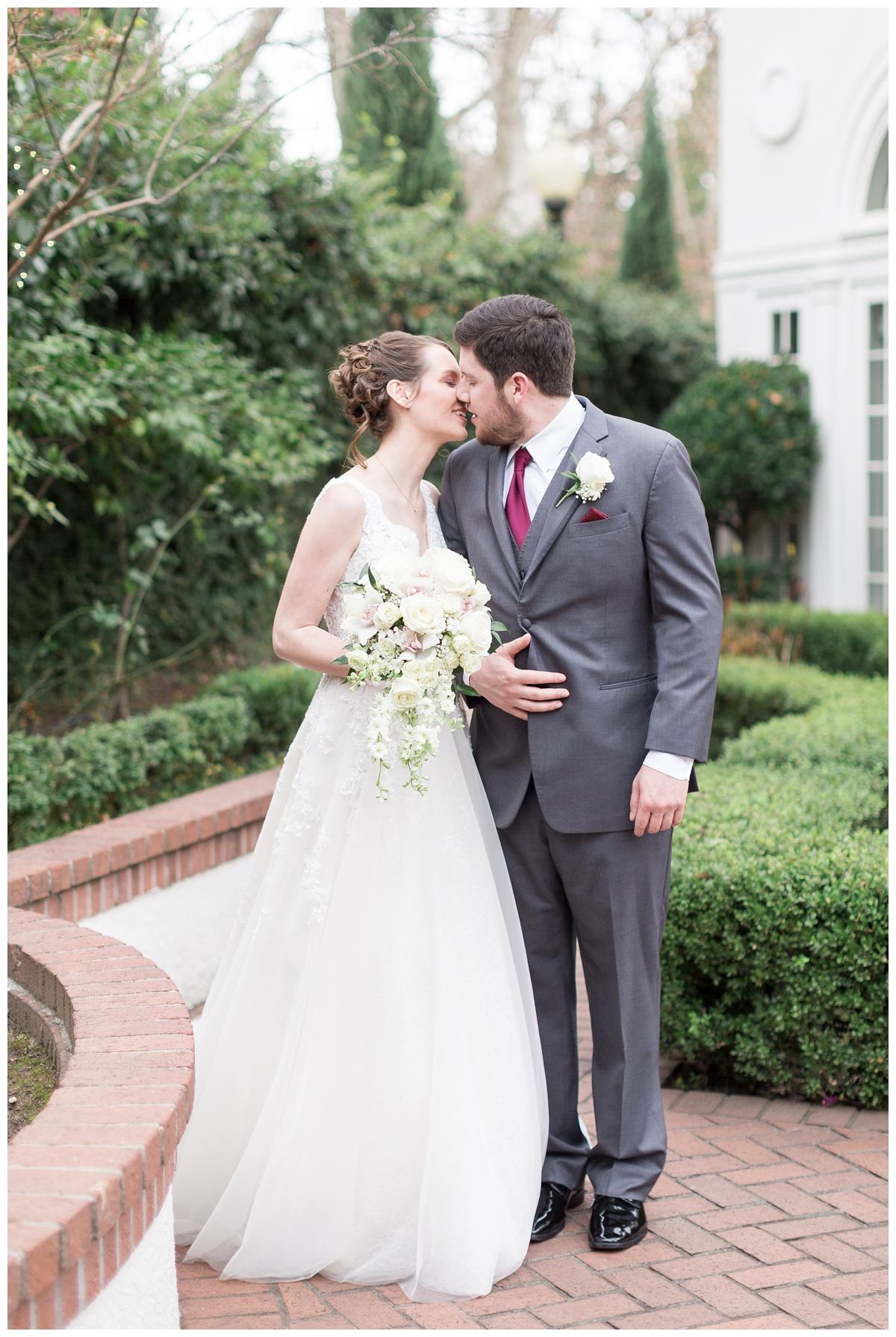 bride and groom take romantic portraits at Vizcaya Sacramento wedding venue