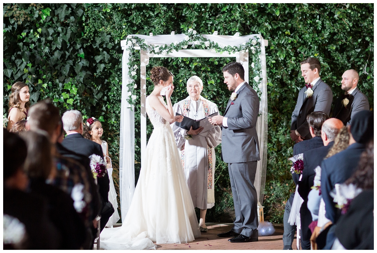 romantic ceremony at the courtyard at Vizcaya Sacramento