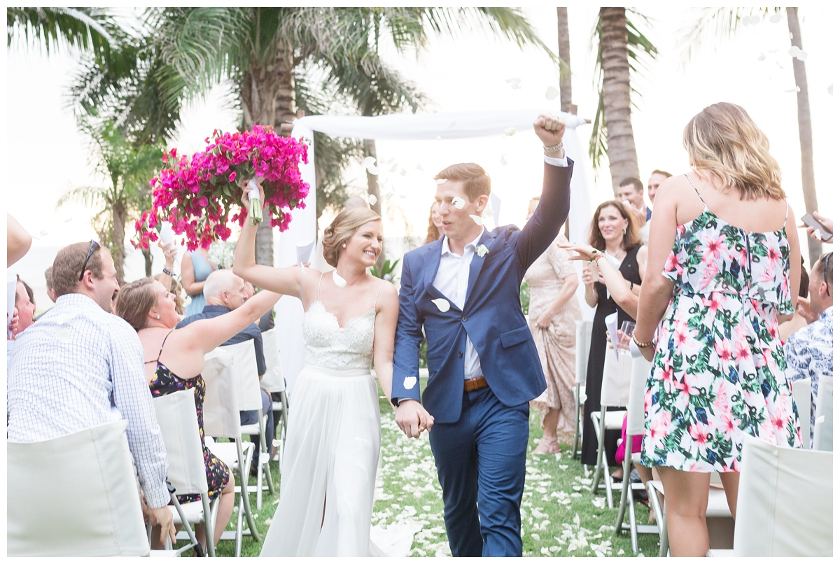 bride and groom dancing right after their marriage ceremony in Mexico