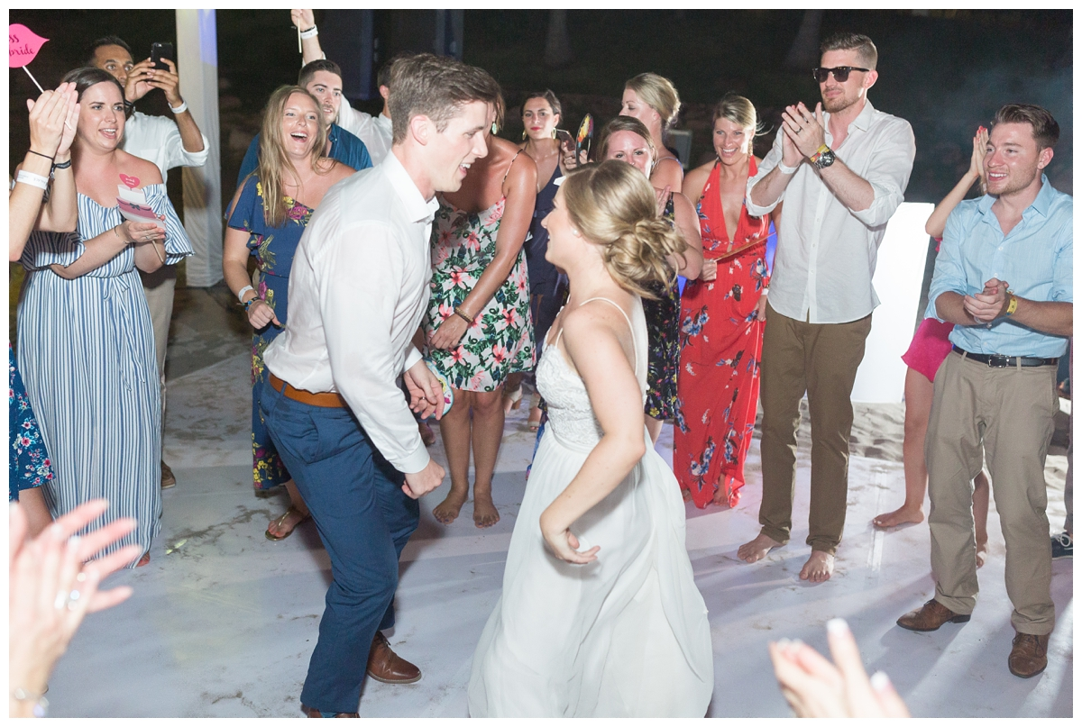 huge dance party at a destination wedding in Mexico